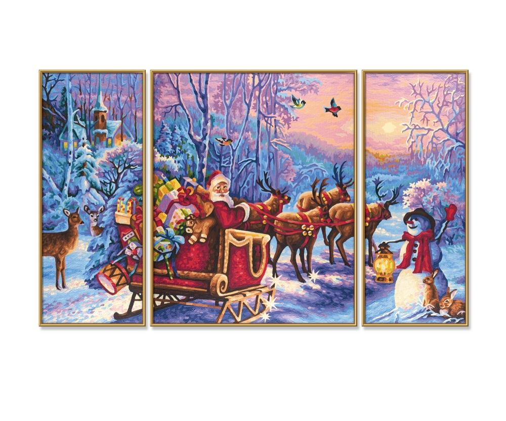 Babbo Natale 50.Sta Arrivando Babbo Natale Triptychon 50 X 80 Cm Dimensioni Del