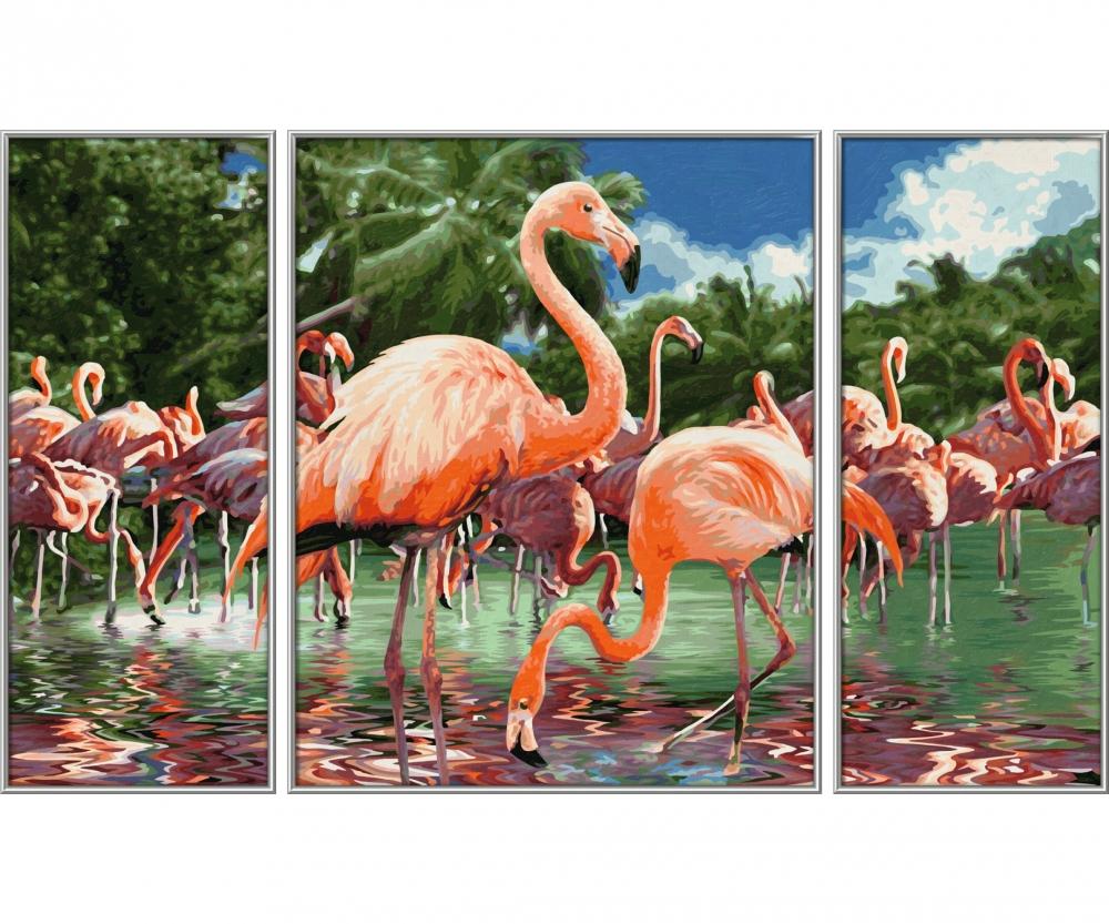 Schipper 609260782 Malen nach Zahlen Triptychon Flamingos