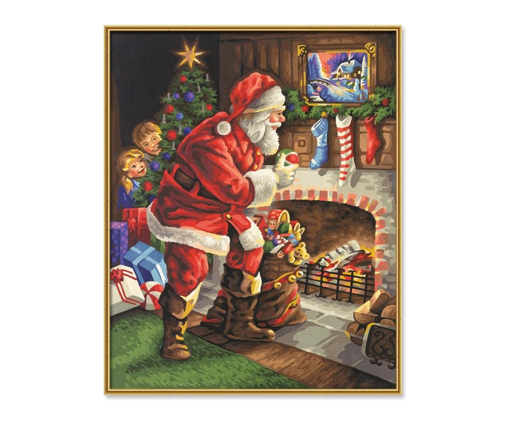 Babbo Natale 50.Babbo Natale Accanto Al Camino Premium 40 X 50 Cm Dimensioni Del