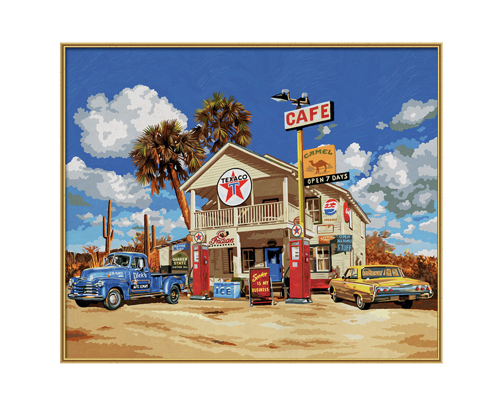 Old American Gas Station Grossformat 50 X 60 Cm Bildformate