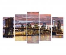 schipper New York in der Morgendämmerung (Polyptychon) Malen nach Zahlen Vorlage