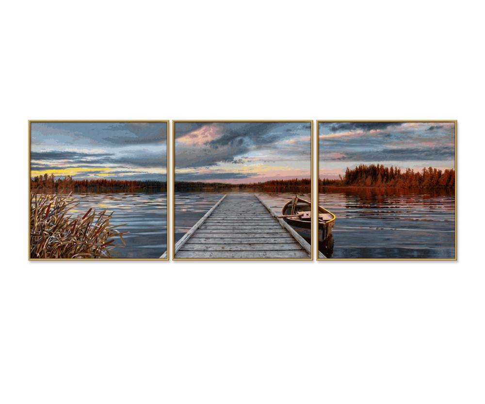 Sonnenaufgang am See - Triptychon 40 x 120 cm - 3-teilig ...