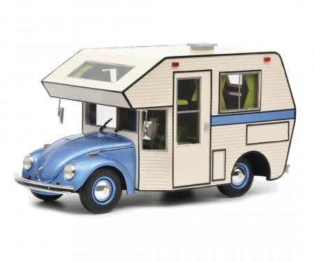 """schuco VW Käfer """"Motorhome"""", blue, 1:18"""