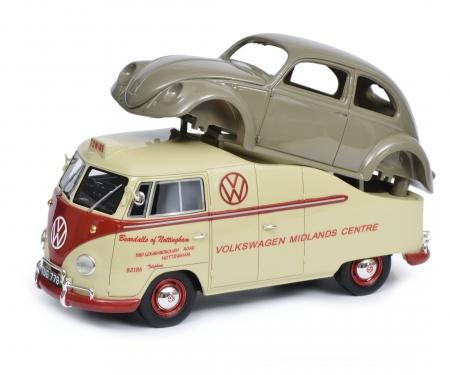 """schuco VW T1a """"Midlands Centre"""" mit Brezelkäfer Karosserie, 1:18"""