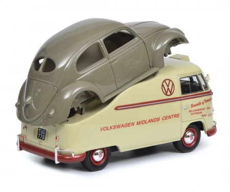 "schuco VW T1a ""Midlands Centre"" wiht beetle chassis, 1:18"