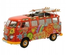 "schuco VW T1 Samba ""Hippie"" with roof tracks and surfboards, 1:18"