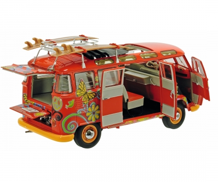 """schuco VW T1 Samba """"Hippie"""" with roof tracks and surfboards, 1:18"""
