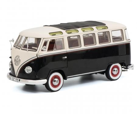 schuco VW T1b Samba, schwarz-weiß, 1:18