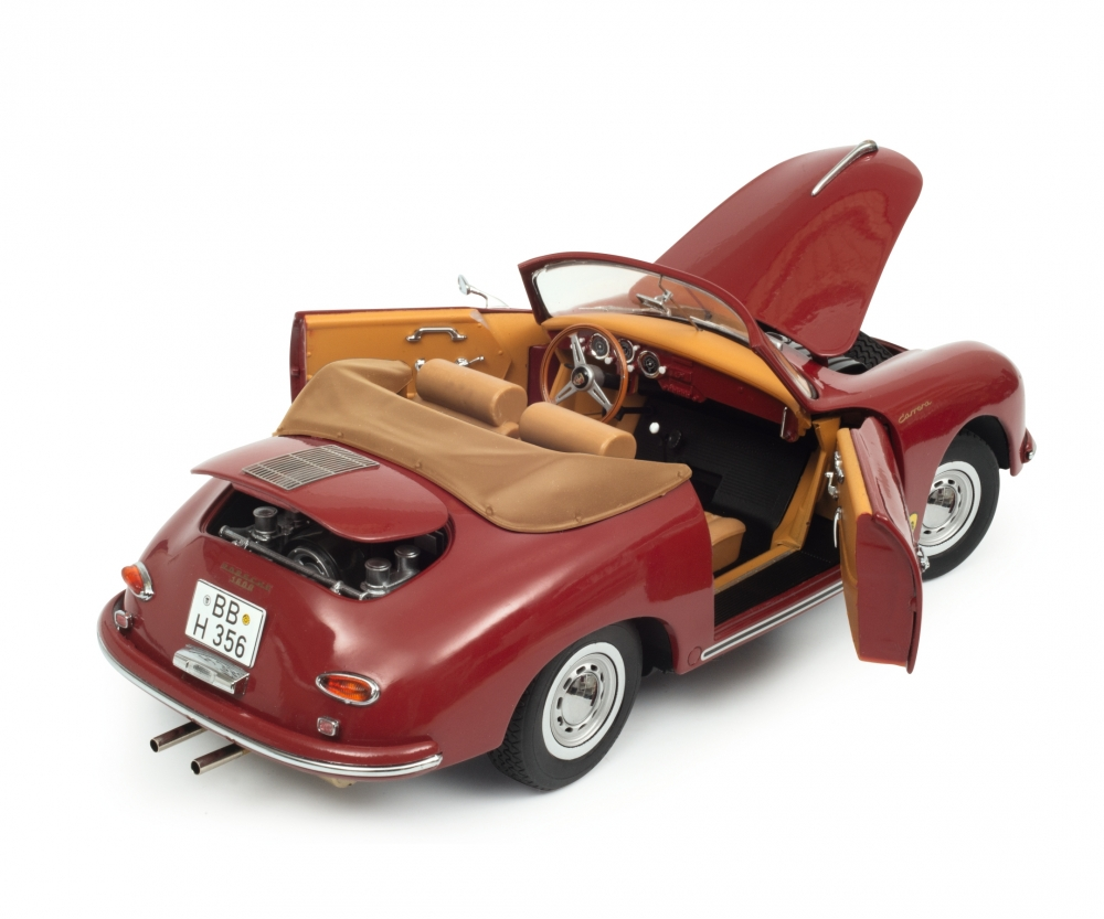1//18 Schuco Porsche 356 A Carrera Coupe Polyantha Red with Skis Model Car