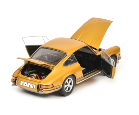 schuco Porsche 911 S Coupé 1973, gold metallic, 1:18