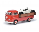 "schuco VW T1b pick-up Westfalia ""Porsche"" with Formela Vau racing car 1:18"