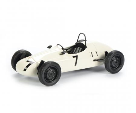 """schuco VW T1b Westfalia-Pritsche """"Porsche"""" mit Formel Vau Rennwagen 1:18"""