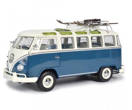 """schuco VW T1b Samba """"Wintersport"""", blau-weiß, 1:18"""