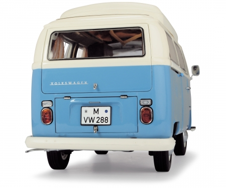 schuco VW T2a camping bus, blue white, 1:18