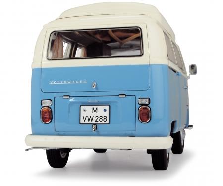 schuco VW T2a Campingbus, neptunblau-weiß, 1:18