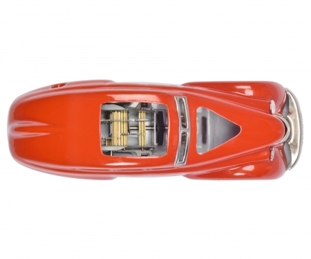Turning car 1010 cutaway model on wooden base,red