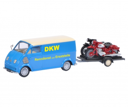 """DKW Schnelllaster """"DKW"""" with bike trailer and DKW RT 125, DKW RT 350, 1:43"""