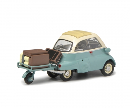 "BMW Isetta with trailer and luggage ""Auto-Porter"", green beige, 1:43"
