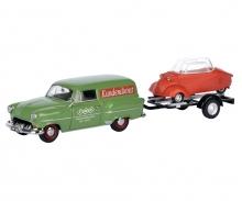 """Opel Olympia Caravan with trailer and Messerschmitt KR """"Messerschmitt Service"""" 1:43"""