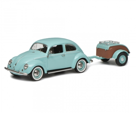 VW Käfer Ovali with trailer Westfalia, turquoise, 1:43
