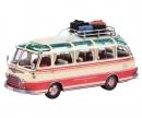 Setra S6 mit Dachgepäckträger und Reisegepäck, beige-rot 1:43