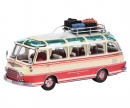schuco Setra S6 with roof rack and luggage, beige-red 1:43