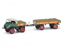 Unimog U 401 with trailer and potatoes 1:43
