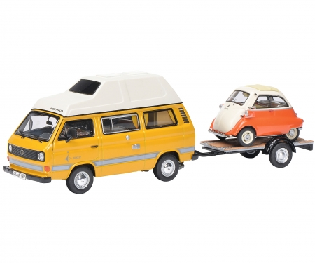 """VW T3 """"Joker"""" camping bus with trailer and BMW Isetta 1:43"""