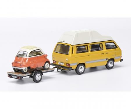 """VW T3 """"Joker"""" Campingbus mit Autoanhänger und BMW Isetta  1:43"""