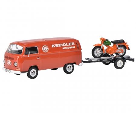 "VW T2a ""Kreidler-Service"" box van with bike trailer and Kreidler Florett 1:43"