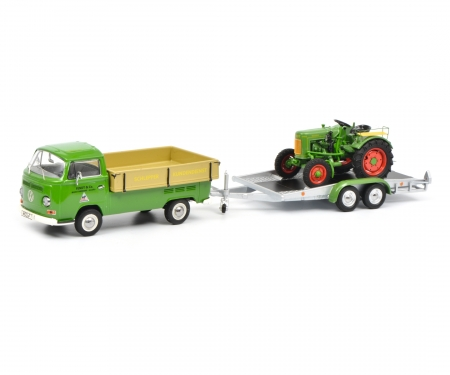 "VW T2a Westfalia pick up with trailer and Fendt Dieselroß ""Fendt Service"" 1:43"