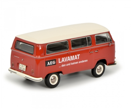 """schuco VW T2a Bus L Luxus """"AEG Lavamat"""", rot 1:43"""