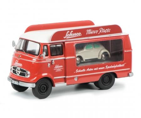 "Mercedes-Benz L319 promotion car ""Schuco Micro Racer"" with Piccolo VW Käfer 1:43"