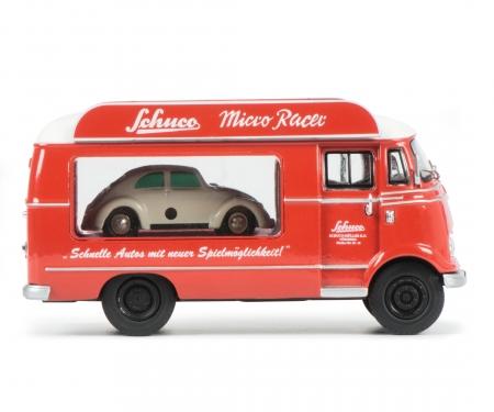 """schuco Mercedes-Benz L319 Werbewagen """"Schuco Micro Racer"""" mit Piccolo VW Käfer 1:43"""