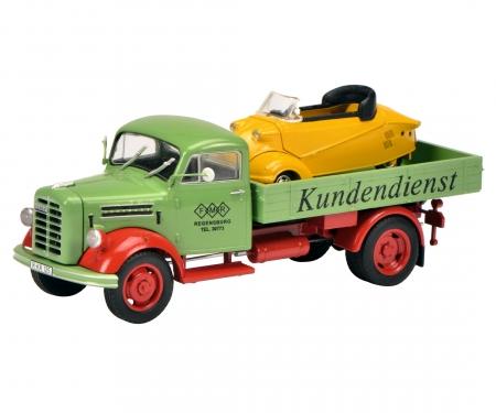 """Borgward B2500 """"Messerschmitt-Service"""" with Messerschmitt Kabinenroller, 1:43"""