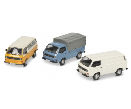 """Set """"40 years VW T3"""" VW T3 bus, pick-up and box van, 1:43"""