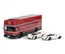 "Set ""Edition 70 Jahre Porsche"" racing transporter with Porsche 908 short and long tail, 1:43"