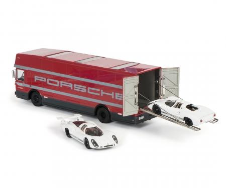 """Set """"Edition 70 Jahre Porsche"""" Renntransporter mit Porsche 908 KH und LH, 1:43"""