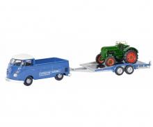 VW T1c Pritschenwagen mit Hänger und Allgaier Traktor 1:43