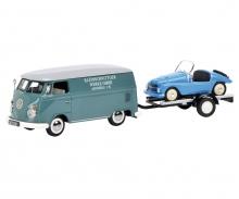 """schuco VW T1c Kastenwagen """"Kleinschnittger"""" mit Autoanhänger und Kleinschnittger F125 1:43"""