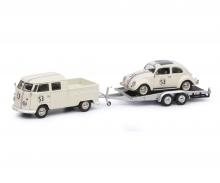 """schuco VW T1b Doppelkabine mit Hänger und Ovali Käfer """"53-Racing"""", beige, 1:43"""