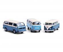 VW Bus T1 Blau 1957  Fertigmodell 1:43 in Vitrine Bulli Samba Bus