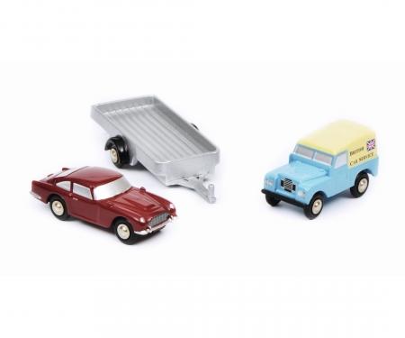 """schuco Land Rover mit Hänger und DB5 """"British Car Service"""""""