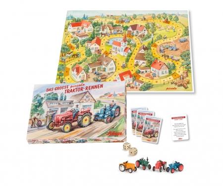 """""""Das große Piccolo Traktoren-Rennen"""" Brettspiel mit 4 Piccolo Traktoren"""