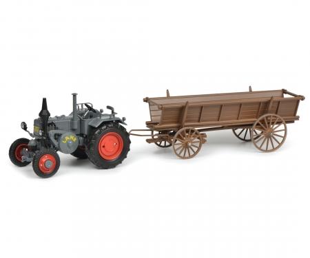 schuco Lanz Bulldog with hay trailer, grey, 1:32