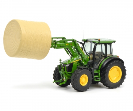 schuco John Deere 5125R with front loader and bale of straw, 1:32