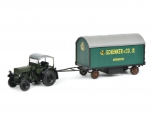 "schuco Deutz F3 with top and trailer ""Schenker"", 1:32"