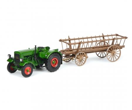 Deutz F3 with hay tailer, green, 1:32