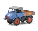 schuco Mercedes-Benz Unimog U401 with wooden bed, blue, 1:32
