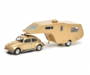 schuco VW Käfer 1200 with caravan trailer, 1:43